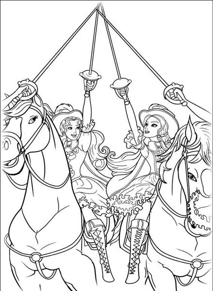 Barbie and The Three Musketeer Coloring Pages 11