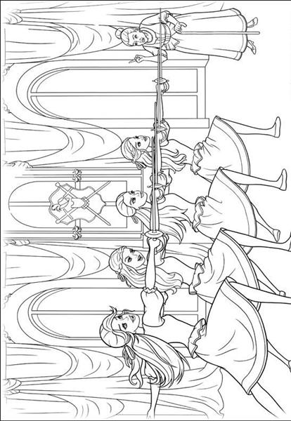 Barbie and The Three Musketeer Coloring Pages 5