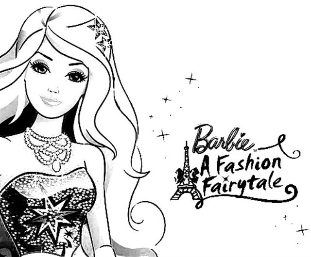 Barbie in a Fashion Fairytale Coloring Pages 1