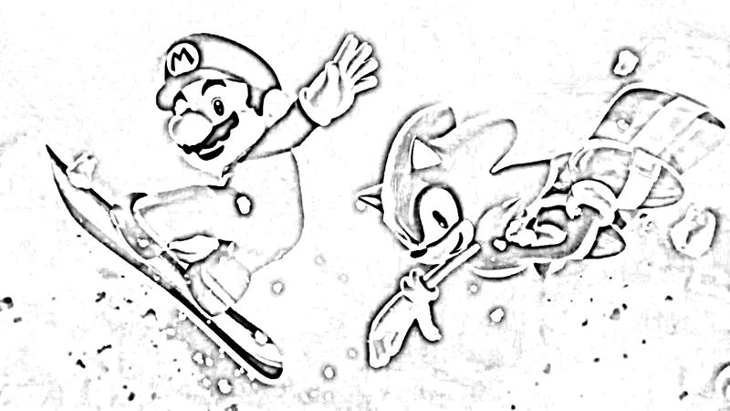 Mario&Sonic at The Olympic Winter Games Coloring Pages 5