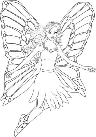 Barbie Mariposa Coloring Pages 6