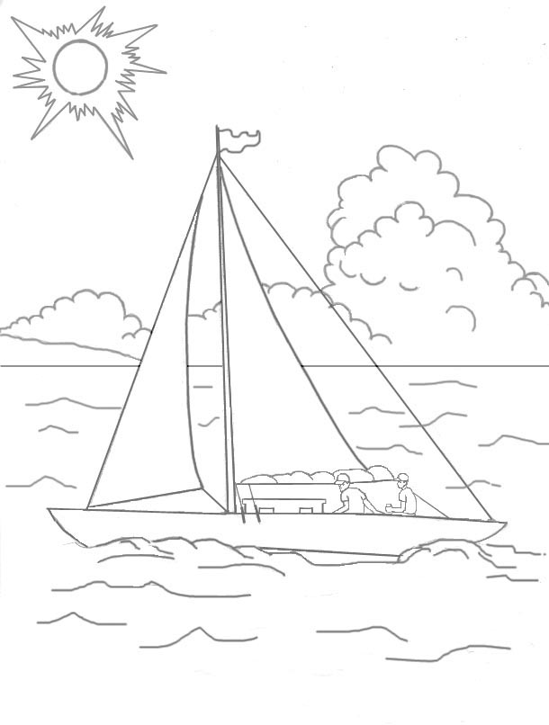 Sea Coloring Page Pages Summer